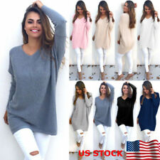 US Womens Long Sleeve Casual Pullover Sweater Shirt V- Neck Loose Jumper Blouse