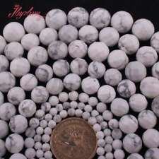 """Round Faceted White Howlite Turquoise Stone Loose Beads for Jewelry Making 15"""""""