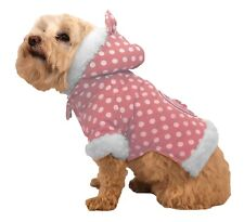 Pet Life Polka-Dot Couture-Bow Pet Hoodie Sweater~Pink~Ultra-Plush/Faux Fur!