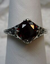*Red Garnet* Sterling Silver Filigree Victorian/Deco Ring Size: {Made To Order}