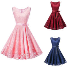 Womens Lace Floral Dress V-neck Pleated Ruffle Bow Formal Party Cocktail Dresses