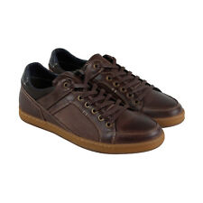 Steve Madden Palis Mens Brown Leather Lace Up Sneakers Shoes