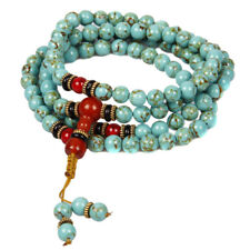 Tibet Turquoise 8mm 108 Stretch Prayer Mala Rosary Bead  Necklace Bracelet