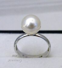 HS Rare South Sea Cultured Pearl 9.5-10mm Ring 925 Sterling Silver Top Grading