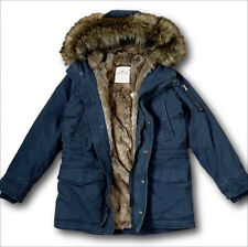 NWT Hollister by Abercrombie Men's Faux Fur Lined Twill Parka Navy Jacket Coat
