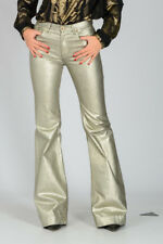 ROBERTO CAVALLI New Woman Silver Blend Cotton Pants Trousers Made Italy