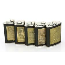 8 Oz. Stainless Steel Hip Flask with Black Leather Wrapping For Alcohol