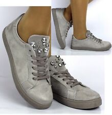 Womens Ladies Grey Embellished Faux Suede Flat Trainers Lace Up Comfy Sneakers