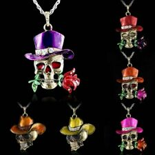 Retro Silver Skull Head Flower Crystal Sweater Long Chain Pendant Necklace Gift