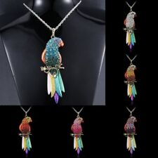 Vintage Women Colorful Bird Parrot Long Chain Pendant Necklace Lady Jewelry Gift