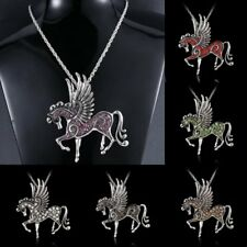 Pegasusn Fly Horse Pendant Rhinestone Crystal Long Chain Pendant Necklace Gift