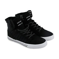 Supra Skytop Mens Black Canvas High Top Lace Up Sneakers Shoes