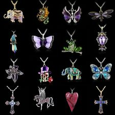 Vintage Crystal Frog Butterfly Animal Dragonfly Long Chain Pendant Necklace Gift