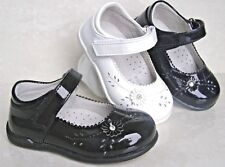 NEW BABY GIRLS LEATHER LINED PATENT BALLERINAS FIRST WALK PARTY FORMAL SHOES UK