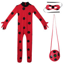 Kids Girls Ladybug Fancy Dress Party Cosplay Costume Bag Jumpsuit Mask Outfits