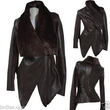 Classy Leather Jacket Blazer Fur Collar Brown 34 36 38 40 42 Transition Winter