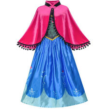 Princess Dress Anna Costume Dress Up Cosplay Cloak Snowflake Size 5-12