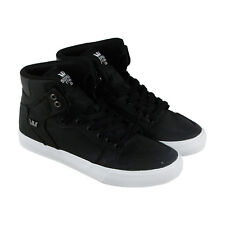 Supra Vaider Mens Black Canvas High Top Lace Up Sneakers Shoes
