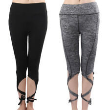 Women Sports Athletics Stretchy Polyester Cropped Yoga Pants Legging Trousers