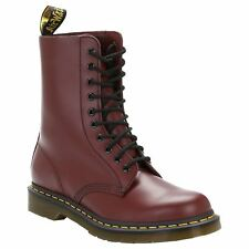 Dr.Martens 1490 10-Eyelet Cherry Red Womens Smooth Leather Calf Length Boots
