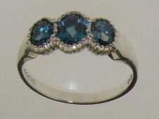 9ct White Gold Natural London Blue Topaz Womens Trilogy Ring - Sizes J to Z