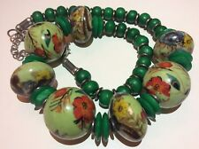 Vintage Jewellery Kitsch Floral & Peacock Painted Porcelain Chunky Bead Necklace