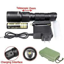 CREE XM-L T6 8000 LM LED Flashlight Zoom 18650 AAA Rechargeable Torch+Charger GA