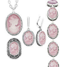 Lady Queen Cameo Pendant Sets Necklace Earrings Ring Bracelet Fashion Jewelry