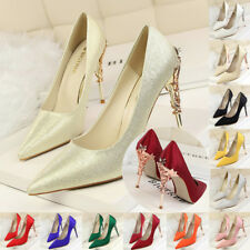 Sexy Women Party Shoes Stiletto Pointed-toe High Heels Satin Pumps Metal Shoes