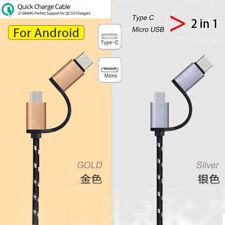 2.4A Fast Charging Nylon Wire Type C/Micro USB Data Sync Cable For Samsung Phone