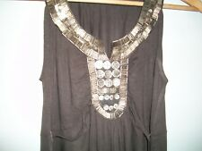 MONSOON MAXI DRESS UK 8 BEACH/SUMMER/HOLIDAY TAUPE EMBELLISHED TOP GRECIAN STYLE
