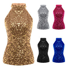Women Ladies Halter Neck Sleeveless Stretchy Sequins Party Top Vest Tank Blouse