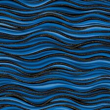 Laurel Burch Basics Quilt Fabric Dark Blue Waves Metallic Style 1331-31M