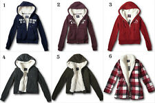 NWT Abercrombie&Fitch by Hollister Womens Heritage Logo Sherpa Fur Hoodie Jacket