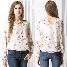 Fashion Women Floral Chiffon Shirt V-Neck Soft Long Sleeve Summer Blouses Tops