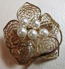 Delicate Gold Tone Filigree Flower Spray Brooch Pin with 5 Pearl Cluster Center
