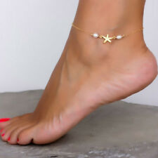Beach Women Starfish Anklet Ankle Bracelet Faux Pearl Sandals Foot Chain Jewelry
