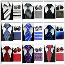 Men Blue White Purple Stripe Neckties Tie& Hanky Cufflinks Handkerchief Set NEW