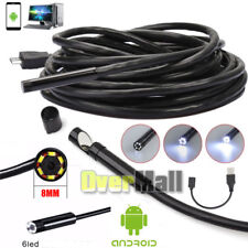 8mm Android Endoscope Waterproof Snake Borescope USB Inspection Camera 6 LED USA