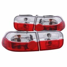 Anzo USA Chrome Euro Tail Light Set-Red/Clear Lens, Honda Civic Coupe; 221220