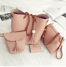 4Pcs PU Leather Women Handbag Shoulder Bag Tote Purse Messenger Satchel Clutch Z