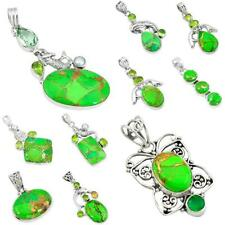 Green copper turquoise 925 sterling silver pendant handmade jewelry