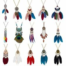 Charm Crystal Feather Peacock Bead Women Pendant Necklace Sweater Chain Jewelry