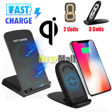 Fast Qi Wireless Charger Charging Pad Stand Dock For Galaxy S8/9 iPhone XS X 8 7