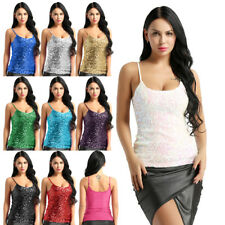 Women's Summer Tank Top Sequined Sleeveless Vest Camisole Vest Dance Clubwear