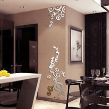 3D Flower Wall Stickers Creative Circle Ring Acrylic Mirror Home Room Decor