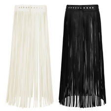 Women Faux Leather Punk Gothic Fringe Tassel Belt Skirts Long Dress Clubwear