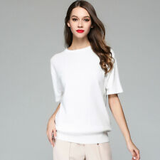 Women's Short-Sleeved Thin Knitted Sweater 100% Cotton Solid Color Coat Tops