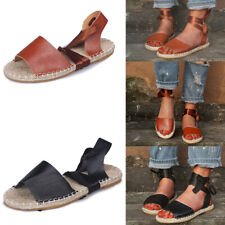 Womens Ankle Strap Sandals Ladies Summer Beach Espadrilles Gladiator Flat Shoes