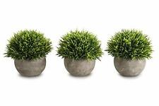 OPPS Mini Artificial Plants Plastic Fake Green Grass Topiary Shrubs with Gray Po
